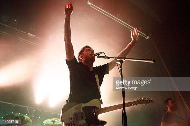 Sam McTrusty of Twin Atlantic performs on stage at HMV Ritz on April 16, 2012 in Manchester, United Kingdom.