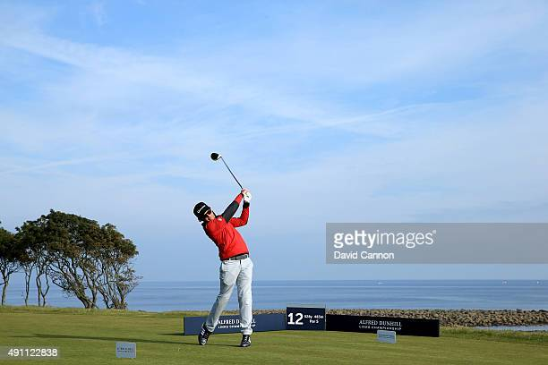 Sam McTrusty the Scottish rock star plays his tee shot on the 12th hole during the third round of the 2015 Alfred Dunhill Links Championship at...