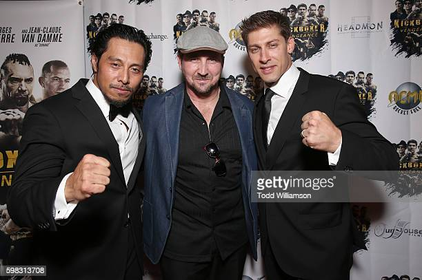 Sam Medina Executive Producer Steve Swalding and Alain Moussi attend the premiere Of RLJ Entertainment's 'Kickboxer Vengeance' at iPic Theaters on...