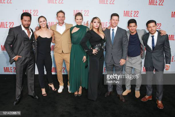 Sam Medina Ronda Rousey Peter Berg Lauren Cohan CL Mark Wahlberg Iko Uwais and Carlo Alban attend the premiere of STX Films' Mile 22 at Westwood...