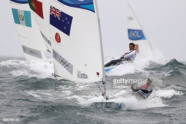 Sam Meech of New Zealand in action during a Laser class race on Day 5 of the Rio 2016 Olympic Games at the Marina da Gloria on August 10 2016 in Rio...