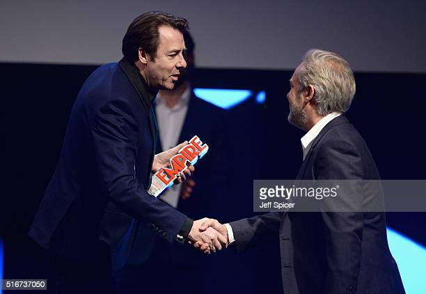 Sam Mendes accepts the award for Best British Film for Spectrefrom award presenter Jonathan Ross stage during the Jameson Empire Awards 2016 at The...