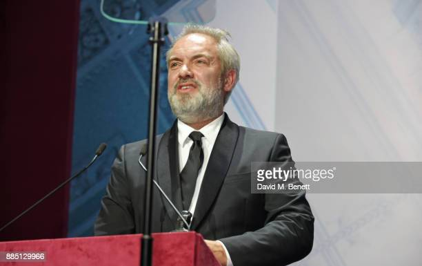 Sam Mendes accepts the Milton Shulman Award for Best Director at the London Evening Standard Theatre Awards 2017 at the Theatre Royal Drury Lane on...