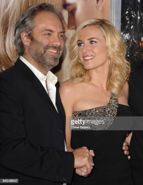 Sam Mendes and actress Kate Winslet arrives at the Los Angeles premiere of 'Revolutionary Road' at the Mann Village Theater on December 15 2008 in...