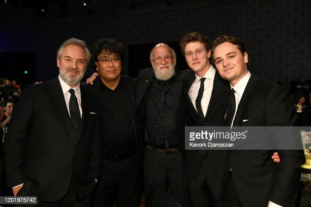 Sam Mendes Bong Joonho Jeremy Kagan George MacKay and DeanCharles Chapman are seen during the 72nd Annual Directors Guild Of America Awards at The...