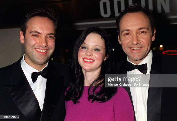Sam Mendes Thora Birch and Kevin Spacey at the closing night gala of The London Film Festival for the European premiere of Sam Mendes' cinematic...