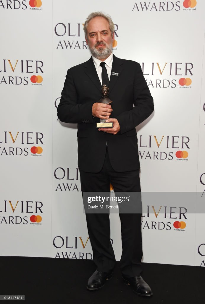 Sam Mendes, winner of the Best Director award for 'The Ferryman', poses in the press room during The Olivier Awards with Mastercard at Royal Albert Hall on April 8, 2018 in London, England.
