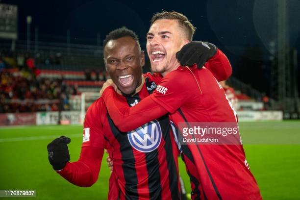Sam Mensiro of Ostersunds FK and Felix Horberg of Ostersunds FK reacts after the Allsvenskan match between Ostersunds FK and IK Sirius FK at...