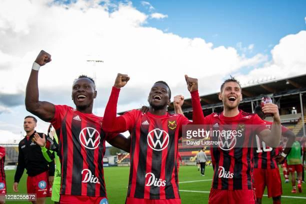 Sam Mensiro of Ostersunds FK, Kalpi Ouattara of Ostersunds FK and Charlie Colkett of Ostersunds FK react after the Allsvenskan match between...