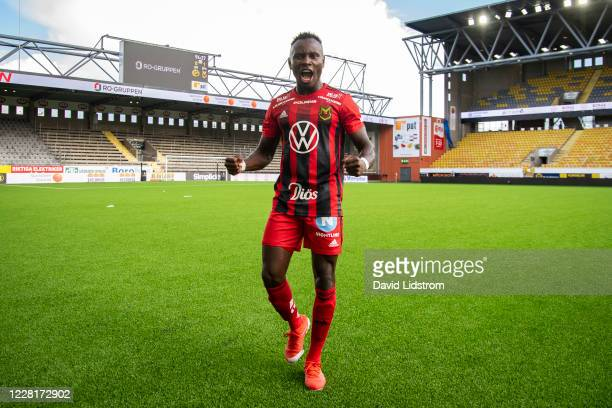 Sam Mensiro of Ostersunds FK reacts after the Allsvenskan match between IF Elfsborg and Ostersunds FK at Boras Arena on August 23, 2020 in Boras,...