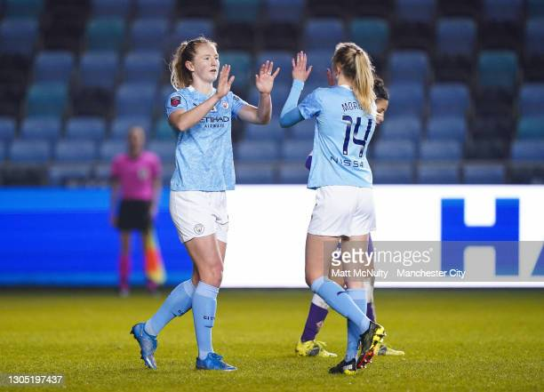 Sam Mewis of Manchester City celebrates after scoring her teams third goal Women's UEFA Champions League Round of 16 match between Manchester City...