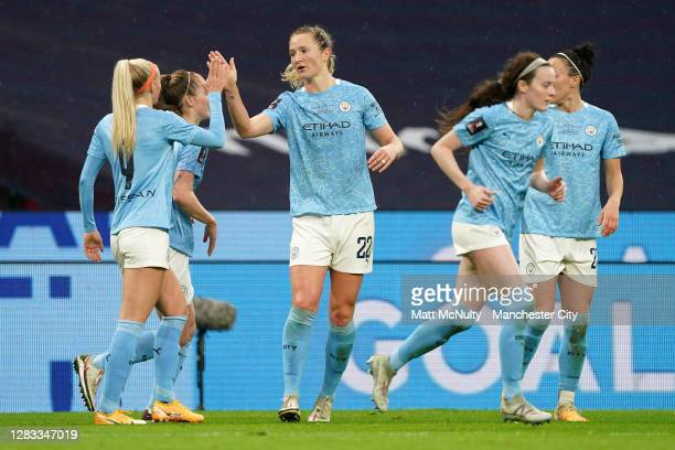 Sam Mewis of Manchester City celebrates with teammate Chloe Kelly after scoring her team's first goal during the Vitality Women's FA Cup Final match...