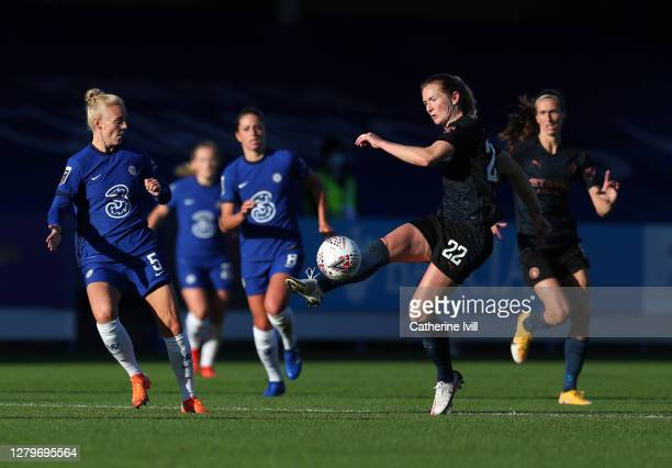 Sam Mewis of Manchester City during the Barclays FA Women's Super League match between Chelsea Women and Manchester City Women at Kingsmeadow on...