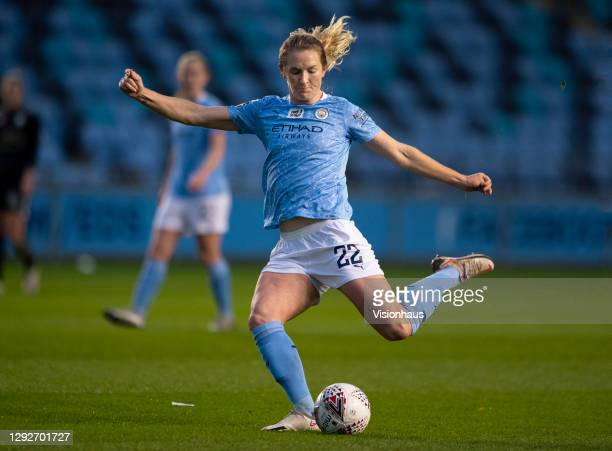 Sam Mewis of Manchester City in action during the UEFA Women's Champions League Round of 32 Second Leg match between Manchester City and Goteborg at...