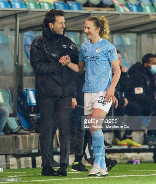 Sam Mewis of Manchester City is congratulated by Gareth Taylor, manager of Manchester City during the UEFA Women's Champions League Round of 32 First...