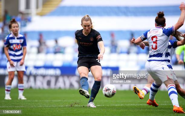 Sam Mewis of Manchester City scores her team's first goal during the Barclays FA Women's Super League match between Reading Women and Manchester City...