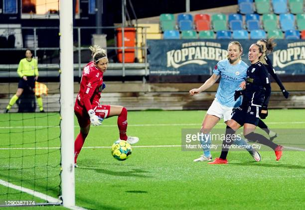 Sam Mewis of Manchester City scores her teams second goal during the UEFA Women's Champions League Round of 32 First Leg at Valhalla IP Stadium on...