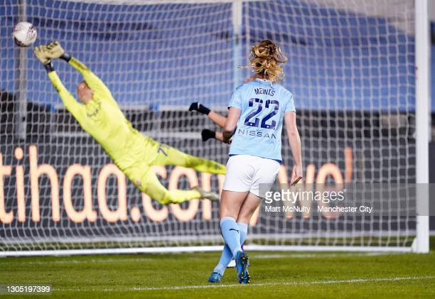 Sam Mewis of Manchester City scores her teams third goal Women's UEFA Champions League Round of 16 match between Manchester City WFC and ACF...