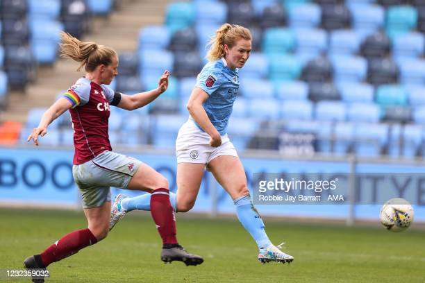 Sam Mewis of Manchester City Women scores a goal to make it 7-0 during the Vitality Women's FA Cup Fourth Round match between Manchester City Women...