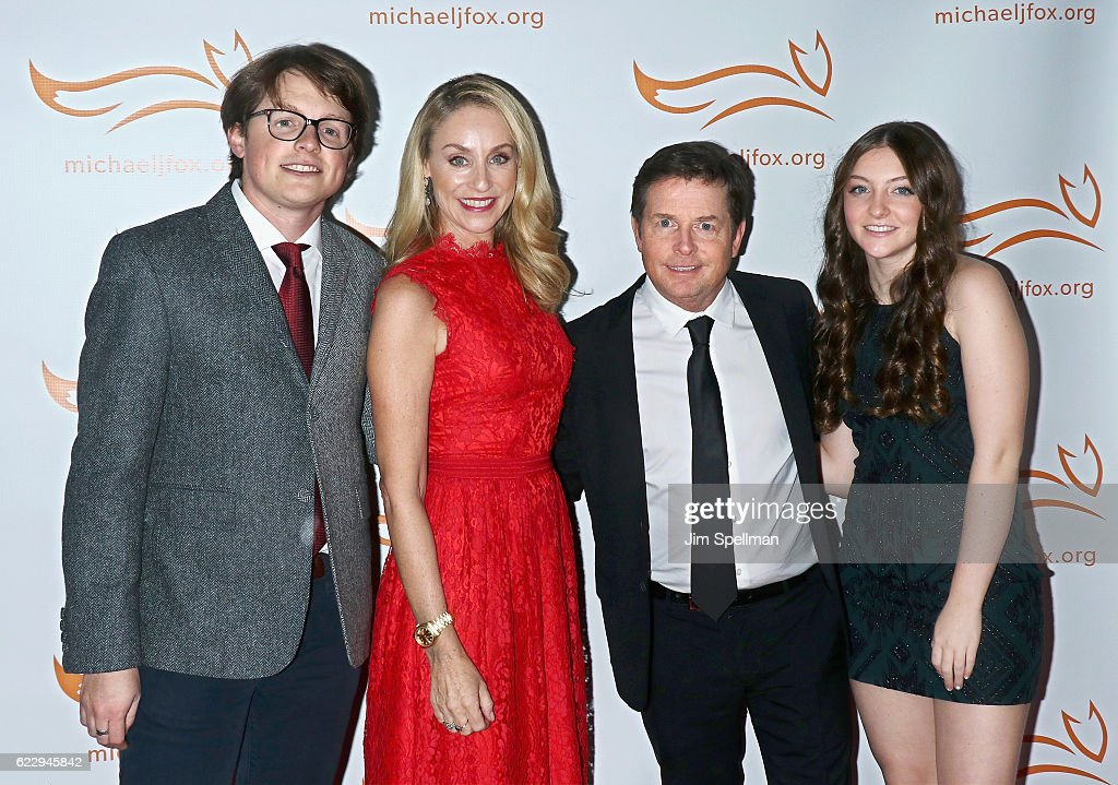 Sam Michael Fox, actress Tracy Pollan, actor Michael J. Fox and Esme Annabelle Fox attend the 2016 A Funny Thing Happened On The Way To Cure Parkinson's at The Waldorf Astoria on November 12, 2016 in New York City.