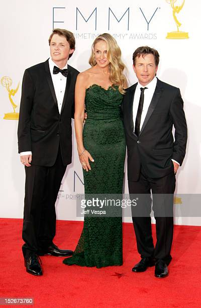 Sam Michael Fox actress Tracy Pollan and actor Michael J Fox arrive at the 64th Primetime Emmy Awards at Nokia Theatre LA Live on September 23 2012...