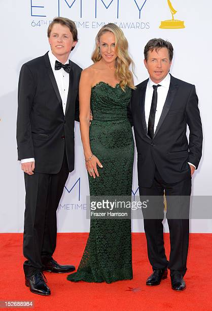 Sam Michael Fox actress Tracy Pollan and actor Michael J Fox arrive at the 64th Annual Primetime Emmy Awards at Nokia Theatre LA Live on September 23...