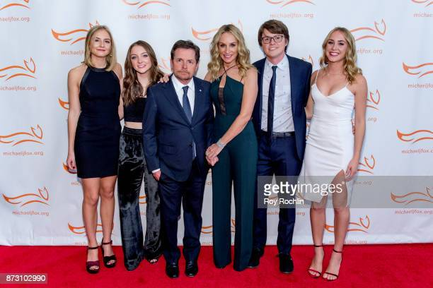 Sam Michael Fox Esme Annabelle Fox Michael J Fox Tracy Pollan Schuyler Frances Fox and Aquinnah Kathleen Fox attend the 2017 a funny thing happened...