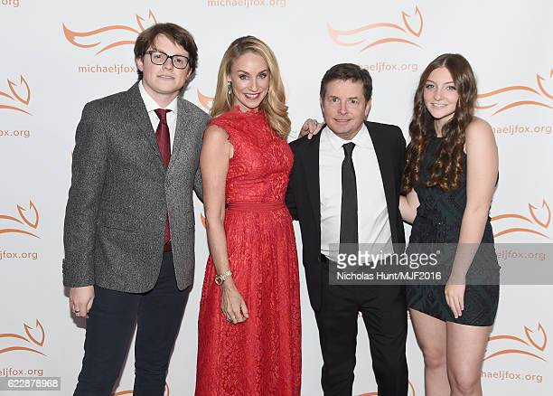 Sam Michael Fox Tracy Pollan Michael J Fox and Esme Annabelle Fox attend Michael J Fox Foundation's 'A Funny Thing Happened On The Way To Cure...