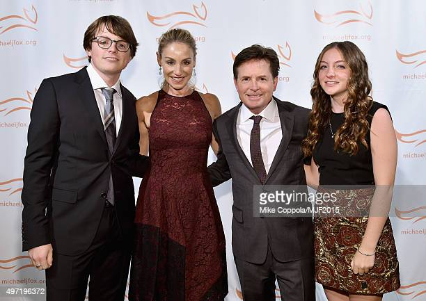 "Sam Michael Fox Tracy Pollan Michael J Fox and Esme Fox attend the Michael J Fox Foundation ""A Funny Thing Happened On The Way To Cure Parkinson's""..."