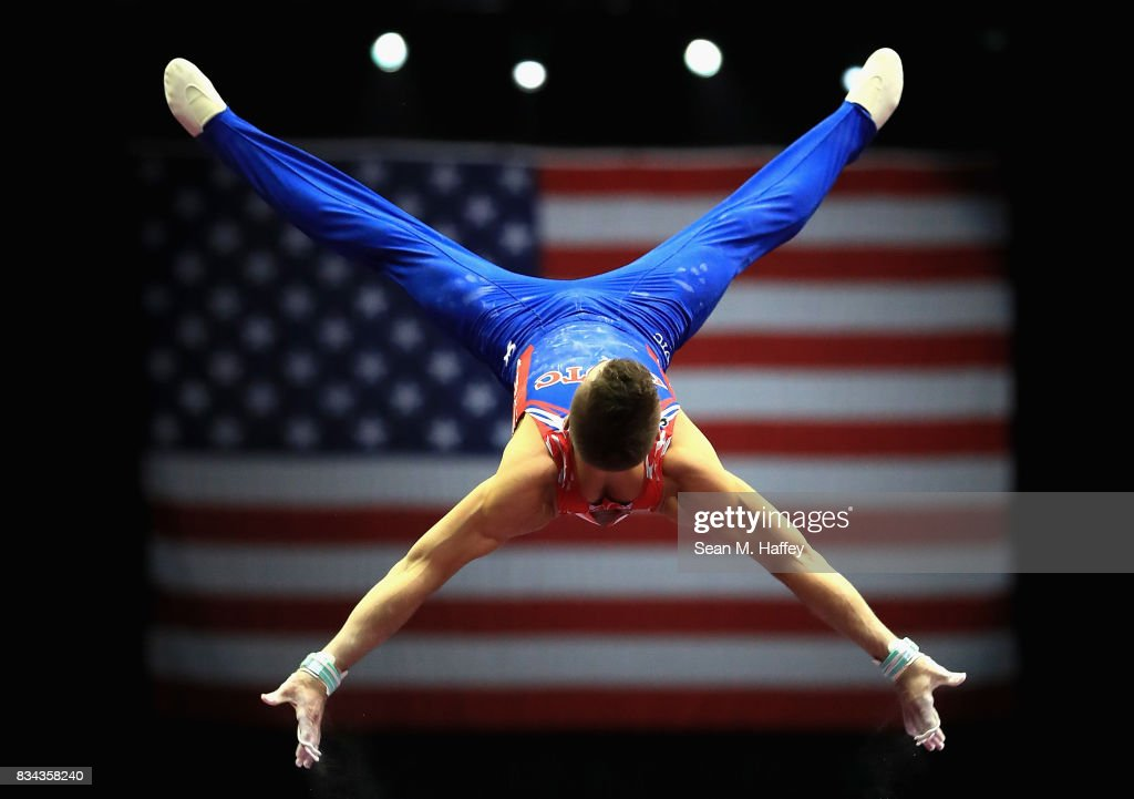 Sam Mikulak competes on the High Bar during the P&G Gymnastics Championships at Honda Center on August 17, 2017 in Anaheim, California.