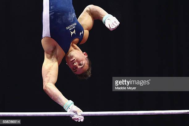 Sam Mikulak competes on the horizontal bar during the 2016 Men's PG Gymnastics Championships at the XL Center on June 5 2016 in Hartford Connecticut