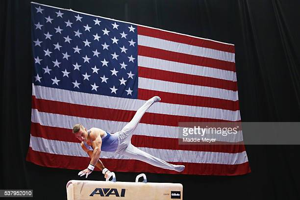 Sam Mikulak competes on the pommel horse during the Men's PG Gymnastics Championships at the XL Center on June 3 2016 in Hartford Connecticut
