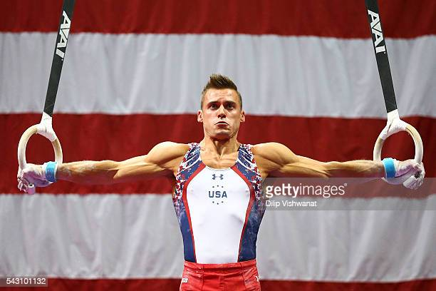 Sam Mikulak competes on the rings during day two of the 2016 Men's Gymnastics Olympic Trials at Chafitz Arena on June 25 2016 in St Louis Missouri