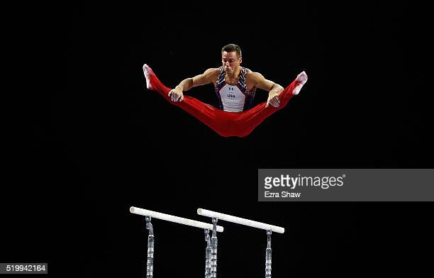 Sam Mikulak of the United States competes on the parallel bars during Day 1 of the 2016 Pacific Rim Gymnastics Championships at Xfinity Arena on...