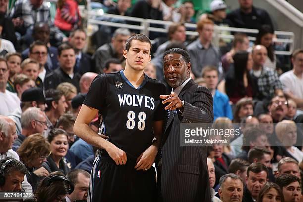Sam Mitchell and Nemanja Bjelica of the Minnesota Timberwolves are seen against the Utah Jazz on January 29 2016 at vivintSmartHome Arena in Salt...