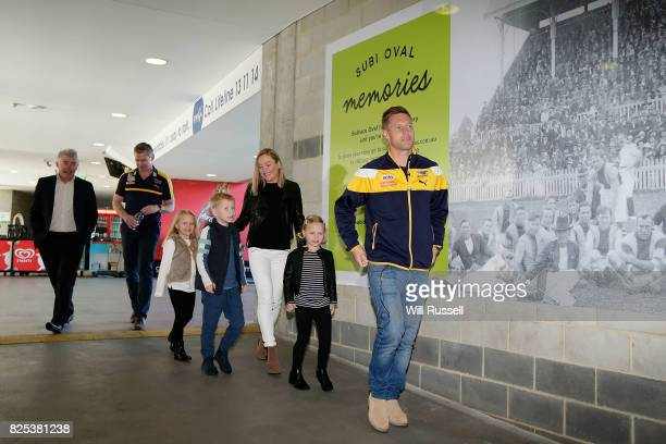 Sam Mitchell arrives to speak to the media announcing his retirement from playing at the end of the home and away season during a West Coast Eagles...