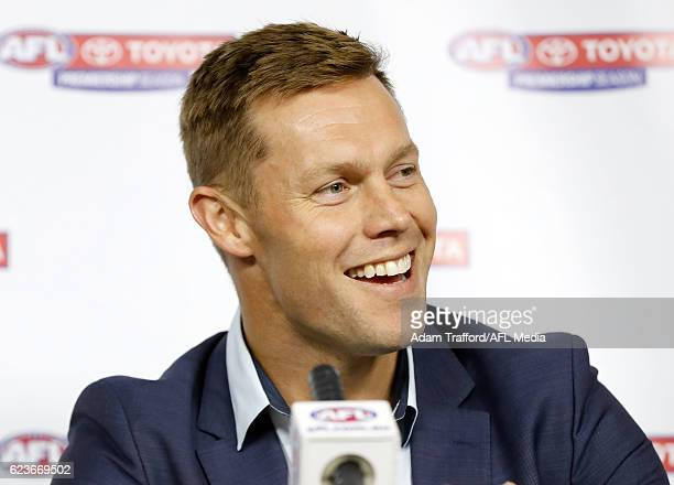 Sam Mitchell of the Eagles addresses the media during a joint press conference after being awarded the 2012 Brownlow Medal at AFL House on November...