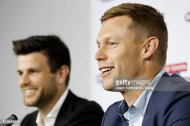 Sam Mitchell of the Eagles and Trent Cotchin of the Tigers address the media during a joint press conference after being awarded the 2012 Brownlow...