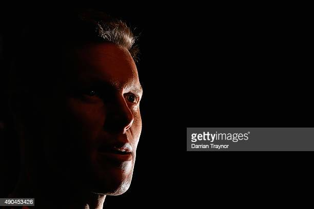 Sam Mitchell of the Hawks speaks to the media before a Hawthorn Hawks AFL training session at Waverley Park on September 29, 2015 in Melbourne,...