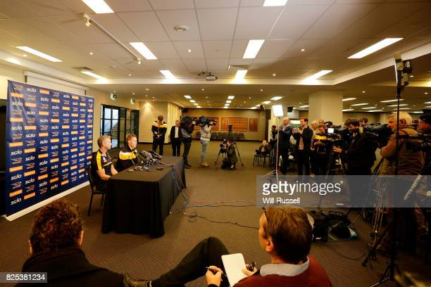 Sam Mitchell speaks to the media announcing his retirement from playing at the end of the home and away season during a West Coast Eagles press...