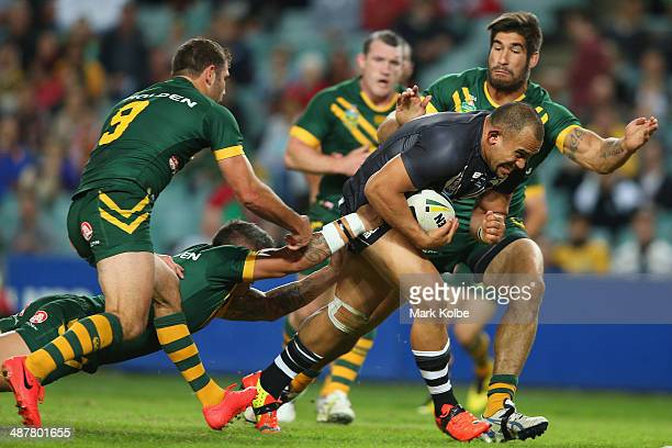 Sam Moa of the Kiwis breaks through on his way to scoring a try during the ANZAC Test match between the Australian Kangaroos and the New Zealand...
