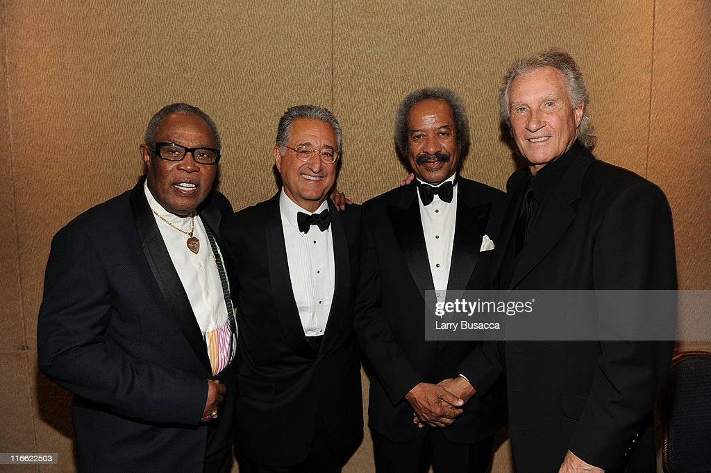 Sam Moore, BMI President & CEO Del Bryant, Allen Toussaint and Bill Medley attend the Songwriters Hall of Fame 42nd Annual Induction and Awards at The New York Marriott Marquis Hotel - Shubert Alley on June 16, 2011 in New York City.