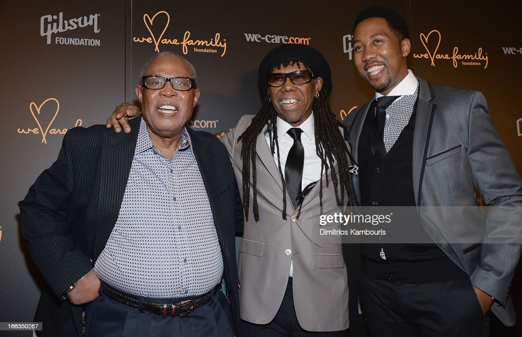 Sam Moore, Nile Rodgers and Ndaba Mandela attend the 0213 We Are Family Honors Gala at Manhattan Center Grand Ballroom on April 11, 2013 in New York City.