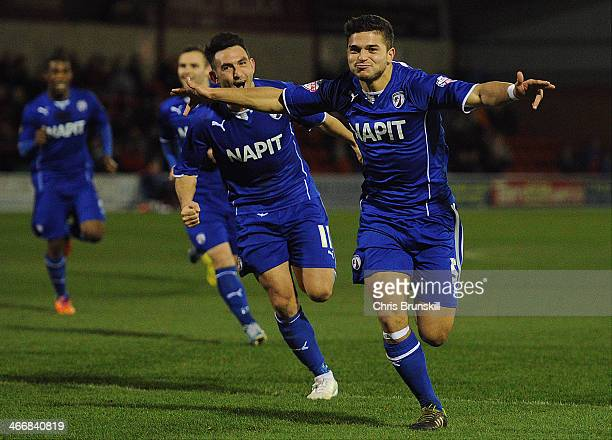 Sam Morsy of Chesterfield celebrates scoring their second goal during the Johnstone's Paint Northern Area Final between Fleetwood Town and...