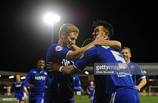 Sam Morsy of Chesterfield is congratulated by his teammates after scoring their second goal during the Johnstone's Paint Northern Area Final between...