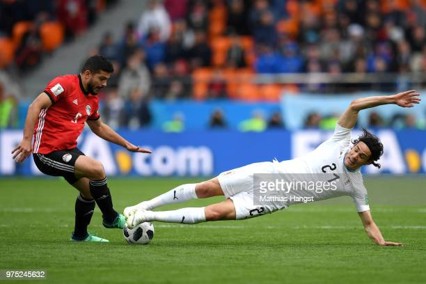 Sam Morsy of Egypt and Edinson Cavani of Uruguay battle for possession during the 2018 FIFA World Cup Russia group A match between Egypt and Uruguay...