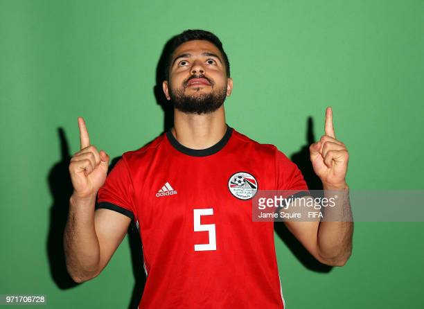 Sam Morsy of Egypt poses during the official FIFA World Cup 2018 portrait session at The Local hotel on June 11, 2018 in Grozny, Russia.