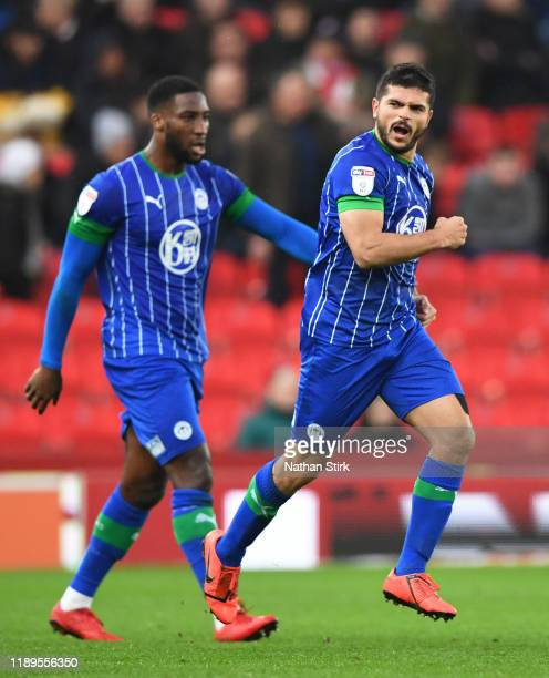 Sam Morsy of Wigan Athletic celebrates after scoring during the Sky Bet Championship match between Stoke City and Wigan Athletic at Bet365 Stadium on...