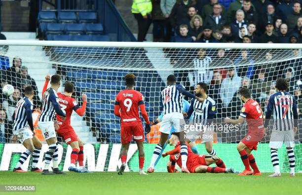 Sam Morsy of Wigan Athletic scores his sides first goal during the Sky Bet Championship match between West Bromwich Albion and Wigan Athletic at The...