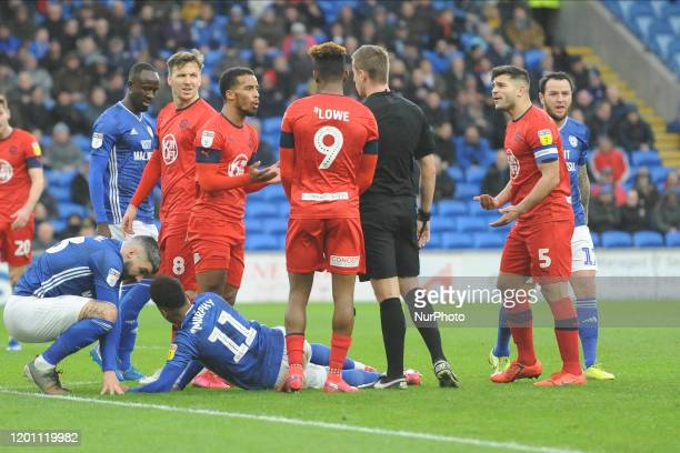 Sam MorsyNathan Byrne during the Sky Bet Championship match between Cardiff City and Wigan Athletic at the Cardiff City Stadium on February 15 2020...
